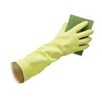"LATEX REUSABLE FLOCK LINED 12"" YELLOW GLOVES Small 20ml (12pr)"