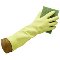 "LATEX REUSABLE FLOCK LINED 14"" YELLOW GLOVES 28ml Small (12pr)"