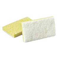 "FINE CLEANING SCRUBBER PAD & SPONGE White 3.5x6"" #63 light cleaning pad"