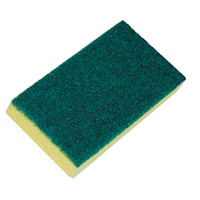 "MEDIUM CLEANING SCRUBBER PAD AND SPONGE Green 3.5 x 6"" cleaning pad & yellow sponge"