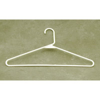 PLASTIC WHITE TUBULAR CLOTHING HANGER Open Hook, 16 Inch Wide, 144/pk