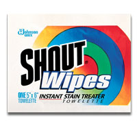 SHOUT LAUNDRY STAIN REMOVER WIPES Wrapped Towelettes, Packed 2/40 ea.