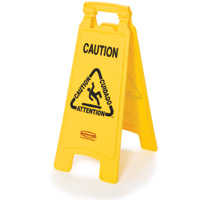"""RUBBERMAID® SAFETY FLOOR SIGNS YELLOW Caution sign 2-sided multi- lingual 26x11x25"""""""