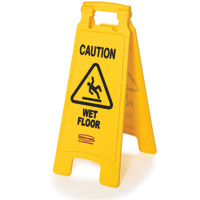 RUBBERMAID® SAFETY FLOOR SIGNS YELLOW ***ON SALE!*** Caution Wet Floor 2-sided English 26x11x25""