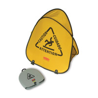 RUBBERMAID® FOLDING YELLOW SAFETY CONES Caution multi-lingual sign 20x18-3/8x13""