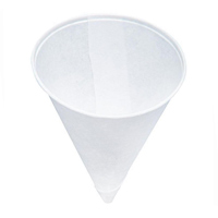 WATER COOLER PAPER CONE CUPS  4.0 oz, White, 25 Packs of 200