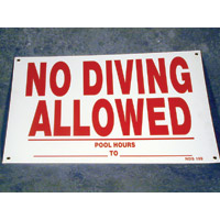 """NO DIVING ALLOWED"" SIGN 12""X18"" packed (1 each)"