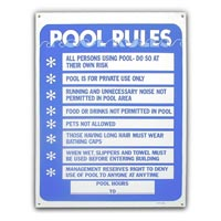 """OUR POOL RULES"" POOL SIGN 24"" x 18"" packed (1 each)"