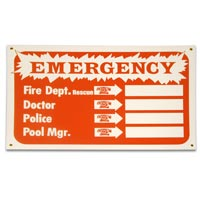 """FOR EMERGENCY USE"" POOL SIGN 12""X18"" packed (1 each)"