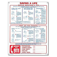"""""""ARTIFICIAL RESPIRATION"""" SIGN 24""""x18"""" packed (1 each)"""