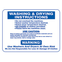 """""""WASHING & DRYING INSTRUCTIONS"""" LAUNDRY SIGN 15.5""""x19"""" #L441"""
