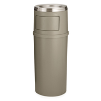 ASH TRASH SMOKING MANAGEMENT CLASSIC ROUND CONTAINERS Beige 25gal container with doors 18x42.25""