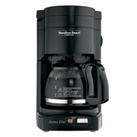 HAMILTON BEACH CLASSIC COFFEE MAKER WITH GLASS CARAFE Black. Brews 1 to 4 cups.