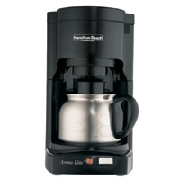 HAMILTON BEACH EURO COFFEE MAKER WITH STEEL CARAFE Black. Stainless Steel Carafe. Brews 1 to 4 cups.