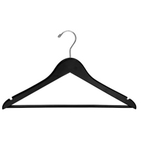 "BLACK WOOD CLOTHING HANGER OPEN HOOK 17"" Unisex, Simple Bar, 100/cs Flat"