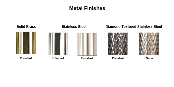 STEEL FINISHES AVAILABLE FOR FORBES LUGGAGE & BELLMAN CARTS Brass,Stainless,Diamond Textured