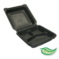 "BIODEGRADABLE FOOD PACKAGING BLACK CLAMSHELL STYLE 8x8x3"" three compartment"
