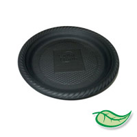 "BIODEGRADABLE 6"" ROUND BLACK PLATES 1000 PACK ON SALE! WAS $46.95 NOW ONLY $35"