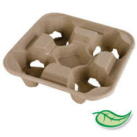 COMPOSTABLE & RECYCLABLE CARRY TRAY 4 cup tray packed 300