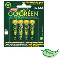 PERFPOWER ALKALINE BATTERIES 100% RECYCLABLE AAA - packed 100