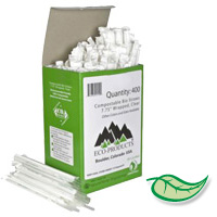 "COMPOSTABLE & RECYCLABLE WRAPPED PLA STRAWS Clear 7.75"" (10,000)"