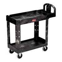 "RUBBERMAID® HEAVY DUTY UTILITY CART 500 LB CAPACITY Black 2 shelf small cart 39x17.88x 33.25"""