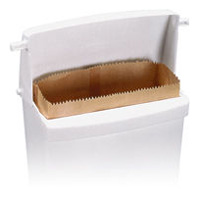 RUBBERMAID® SANITARY NAPKIN RECEPTACLE & LINERS White plastic wall mount recepta 10.75x5.25x12.5""