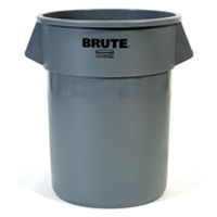 """BRUTE® 55 GALLON ROUND CONTAINERS Gray container 26.5x33"""""""