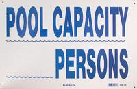 POOL SIGN  POOL CAPACITY ea