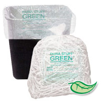 "DURA STUFF® GREEN™ TRASH LINERS W/OXO ADDITIVE 17""X17"" 6mic Natural 4 gal (40 rolls/50 bags)"