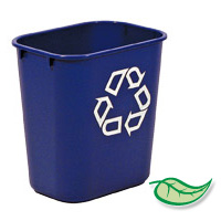 "WASTEBASKETS - DESKSIDE UTILITY RECYCLING CONTAINERS 13.5qt Blue small ""We Recycle"" 11.4x8.25x12.13"""