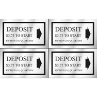 """DEPOSIT __ QUARTERS"" DECAL 1.5""x2.5"" SELF STICK 8/SHEET $3.75 - Deposit 15 Quarters"