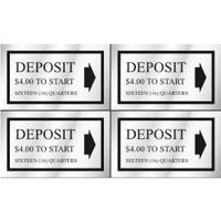 """DEPOSIT __ QUARTERS"" DECAL 1.5""x2.5"" SELF STICK 8/SHEET $4.00 - Deposit 16 Quarters"