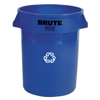 """WE RECYCLE"" BLUE BRUTE® ROUND CONTAINERS 20gal container 19.5x22.88"""