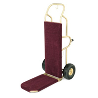 FORBES™ DELUXE BELLMAN HANDTRUCK Brushed Brass with pneumatic wheels & burgandy carpet