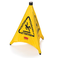 "RUBBERMAID® YELLOW POP-UP FLOOR SAFETY CONES 20"" Multi-lingual caution & wet floor symbol 21x21x20"""