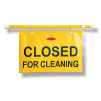"RUBBERMAID® SITE SAFETY HANGING SIGNS ""Closed for Cleaning"" English on 13x50x1"""