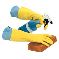 LATEX FLOCK LINED GLOVES 16ml YELLOW Small (12pr)