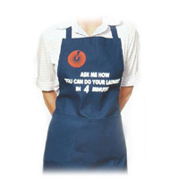 """APRON ADVERTIZING YOUR LAUNDRY DROP OFF SERVICE """"Ask me how you can do your laundry in 4 minutes"""""""