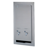SEMI-RECESSED STAINLESS SATIN DUAL VENDOR 25c ven. Holds 12 napkins and 19 tampons