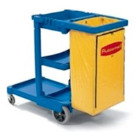 RUBBERMAID® CLEANING CART WITH VINYL BAG Blue. Replacement bags sold seperately.