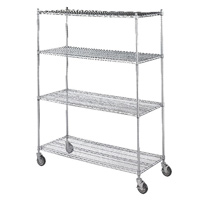 "ROLLING LINEN CART SHELF  Chrome-plated, 36""x18""x72"""