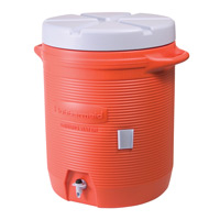 RUBBERMAID® INSULATED COLD BEVERAGE CONTAINERS 10gal orange dispenser 16.1x16x20.5""