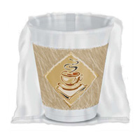INDIVIDUALLY WRAPPED CAFE G FOAM CUP 8 oz White Cup, beige/green desi Hot or cold (900)