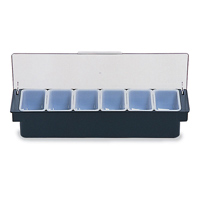 RUBBERMAID® CONDIMENT DISPENSERS Black with 6x1pt inserts 19.63x6.25x3.75""