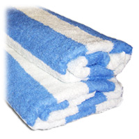 "POOL TOWELS - WHITE WITH LARGE BLUE STRIPE 30x70"" 15lbs/dz"
