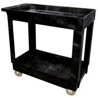 "RUBBERMAID® HEAVY DUTY UTILITY CART 300 LB CAPACITY Black 2 lipped shelf cart 40.125x25.625x32.5"""