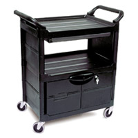 RUBBERMAID® UTILITY SERVICE CARTS Lockable doors & sliding drawer 33.63x18.63x37.75""