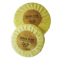 TERRA PURE WILD CITRUS 1.25oz YELLOW TISSUE PLEAT WRAPPED SOAP Packed 350 bars