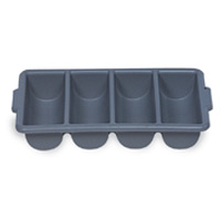 RUBBERMAID® FOOD & TABLE SERVICE ACCESSORIES Gray 4 compartment cutlery bin 21.25x11.5x3.75""